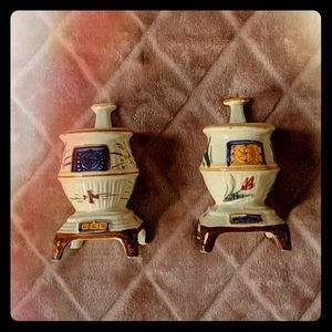 Vintage 40s Occupied Japan Potbelly Stove Figures